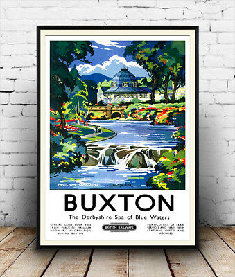 Buxton Derbyshire: Vintage Railway travel advertising , Repro poster, Wall art.