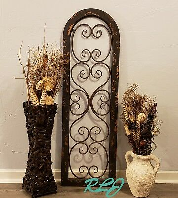 Rustic Antique Distressed Brown Wood Metal Wall Art Panel Vintage Shabby ChicNew