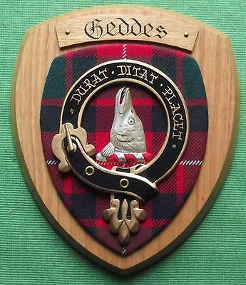 Old Scottish Carved Oak Clan Geddes Coat of  Arms Plaque Crest Shield Pike Head