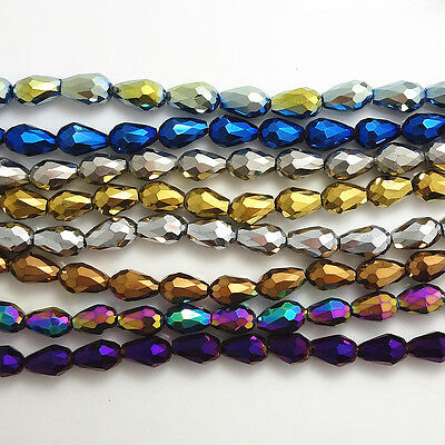 Wholesale  Faceted Teardrop Glass Crystal  Loose Spacer Beads 8x12mm10x15mm