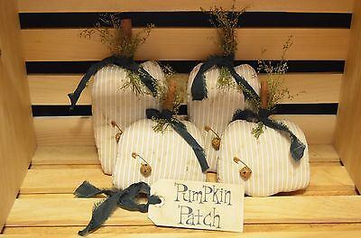 4 Grungy Fall WHITE PUMPKIN Ornie Set Primitive Bowl Fillers Tucks Pantry Decor