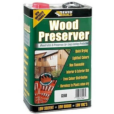 Everbuild WOOD PRESERVER Protection Low Solvent - CLEAR - 5L