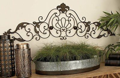 Tuscan Antique Bronze Wrought Iron  Scrollwork Arch Leaf Design Wall Grille Art