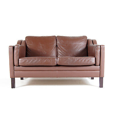 Retro Vintage Danish 2 Seat Seater Leather Feather Sofa 1970s Mid Century Modern