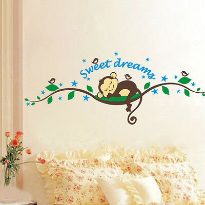 Cheeky Monkey Sweet Dream Removable Wall Stickers Decal Kids Nursery Baby Decor