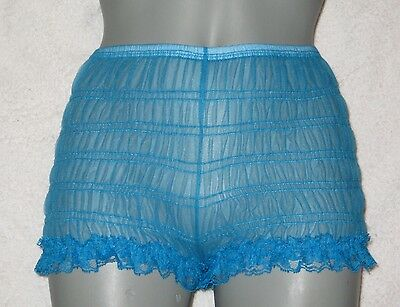 W VINTAGE STYLE PEACOCK SHEER  CHIFFON NYLON TENNIS PANTIES  Large
