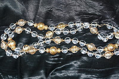 Stunning Flower Design Gold Tone & Clear Beaded Necklace *NICE*