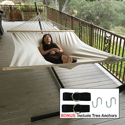 """Extra Wide! 59"""" Swing Double Size Canvas Bed Hammock + Hanging Tree Strap New"""