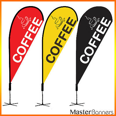 COFFEE Teardrop Flag Banner Kit for Outdoor 2 Sides Printed with Picture