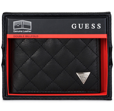 Guess Men's Leather Double Billfold Passcase Wallet Black