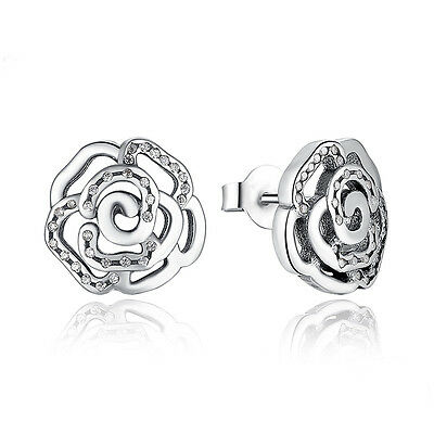 925 Sterling Silver Rose Petals Flower Stud with Clear Earrings studs