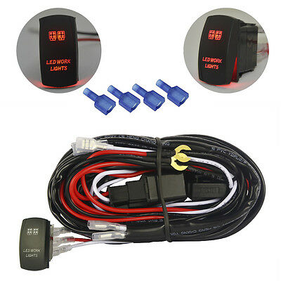 LED Light Bar Wiring Harness Work Ligth Jeep SUV Boat ATV  Relay On/off Switch