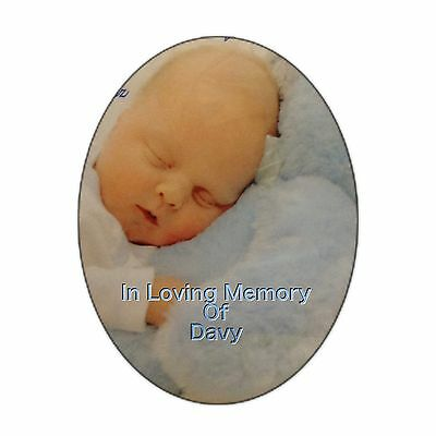 Grave side Memorial Oval Photo Plaque Disc for Headstone 9 x 13 half