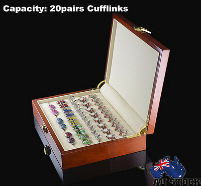 Luxury Wooden Cufflinks Display Box Ring Clip Storage Case Organiser High Gloss
