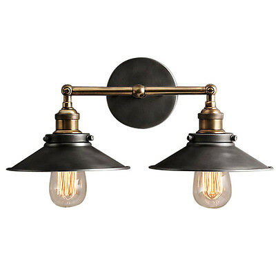 Modern Vintage Industrial Loft Metal Double Rustic Sconce Wall Light Wall Lamp
