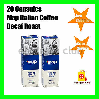 20 Capsules Map Italian Coffee Decaf Roast Capsule Pod Caffitaly System