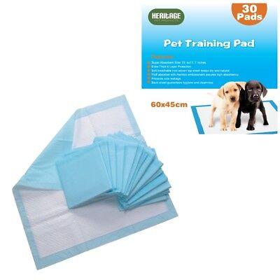 Heritage Heavy Duty 30 X Large Puppy Training Pads Wee Toilet Trainers 60x45cm