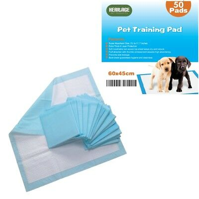 Heritage Heavy Duty 50 X Large Puppy Training Pads Wee Toilet Trainers 60 x 45cm