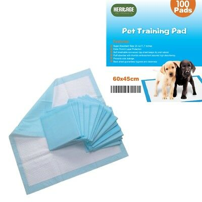 Heritage Heavy Duty 100 X Large Puppy Training Pads Wee Toilet Trainers 60x45cm