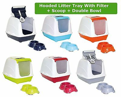 Cat Flip Litter Tray + Double Bowl 6 Colours Box Hooded Toilet Filter Scoop