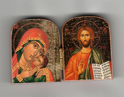 "Orthodox Icon Diptych, (2""x3"") mini sized, Wooden w/ Gold Leaf -Made in Greece"