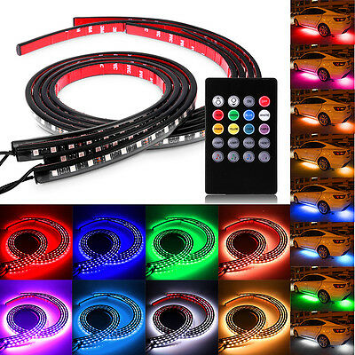 12V Wireless Remote Music In Car Interior LED Neon Atmosphere RGB Footwell Light