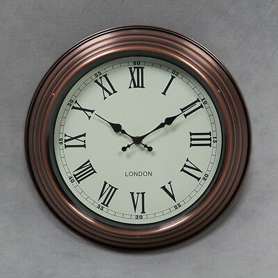 Vintage Copper London Wall Clock Retro Style Industrial Factory 33cm Brass New