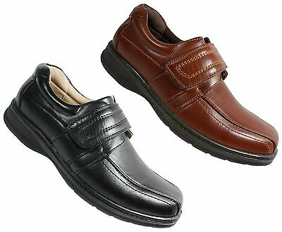 Mens flat casual velcro comfort light weight formal shoes size 6-11