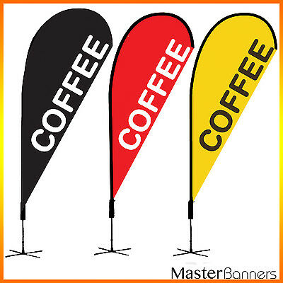 COFFEE Teardrop Flag Banner Kit for Outdoor 2 Sides Printed various size