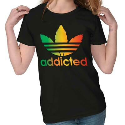 Addicted Stoner Funny 420 Weed Athletic Marijuana Pot Leaf Ladies Tee Shirt T