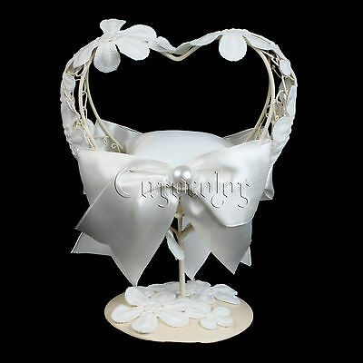 White Wedding Ring Pillow With Heart Metal Frame Table Holder Lace Flower Decor