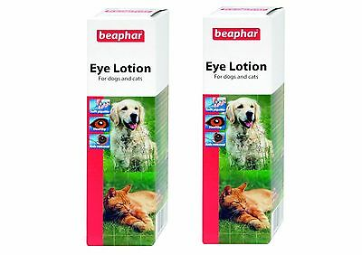 2 x Beaphar Eye Lotion, 50ml. Sterile Saline-Solution for Dogs and Cats