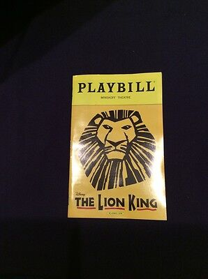 Brand New Lion King Playbill Nyc Cast Broadway Musical Minskoff Theatre 2016