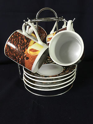 Bella Cucina - Pour Le Rouet - 4 Cup & Saucer Espresso Set with Stand