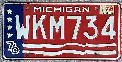 1976 Red White and Blue Michigan Bicentennial License Plate - WKM734