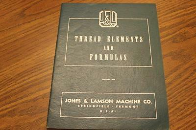 Jones & Lamson Machine Thread Elements & Formulas