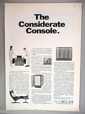 KLH Model Twenty-Five Console Stereo & Speaker PRINT AD - 1966
