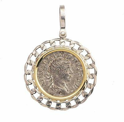 Ancient Roman Silver Coin in Sterling Silver & 14KT Gold Pendant  A.D. 244-249