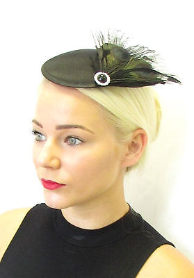 Black Silver Peacock Feather Fascinator Hair Clip Headpiece Vtg Races 1930s 402
