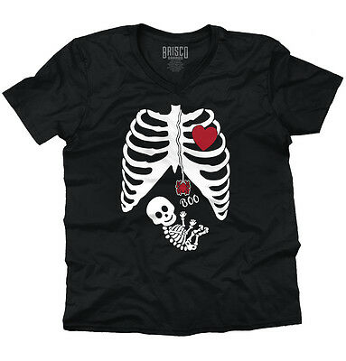 Pregnant Women Baby Halloween Shirt | Cute Gift Skeleton Cool V-Neck T Shirt