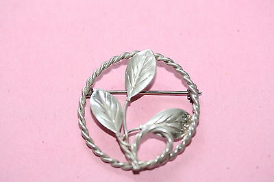 Sterling Silver Rope Ring with Leaves Brooch *PRETTY*