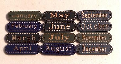 """Lot of 12 MONTHS OF THE YEAR 2-hole Wood Buttons 1-1/2"""" (38mm) (0266) Scrapbook"""