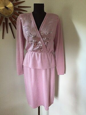 True Vintage 80s St. John Marie Gray Pink Knit 2 Piece Sweater Dress Sparkly! 10