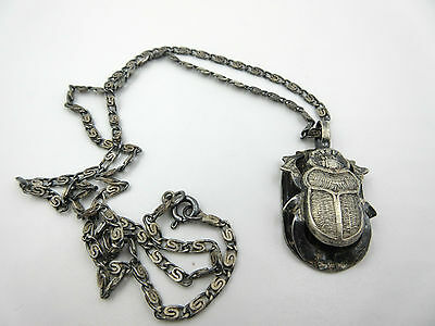 Egyptian Vintage Sterling Silver Figural Scarab Hieroglyphic Pendant Necklace
