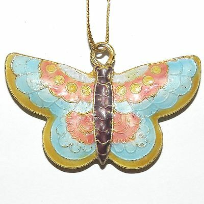CL162p Multi-Colored Handmade Cloisonne Butterfly Pendant Bead 33x51x8mm 1/pkg