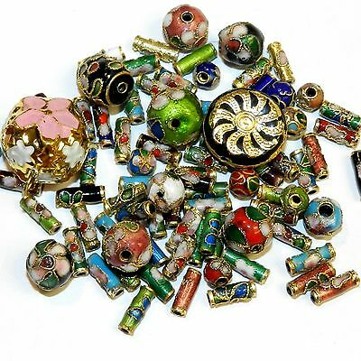 CL167 Assorted Color, Shape & Size 6mm-16mm Cloisonne Enamel & Metal Beads 1/oz