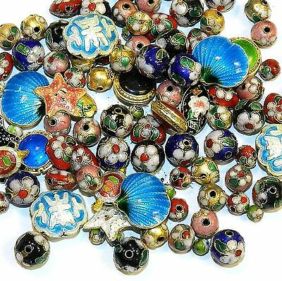 CL168p Handmade Cloisonne Assorted Size, Shape, Color Gold Metal Beads 100/pkg