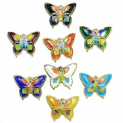 CL169p Handmade Cloisonne Mixed Color 20mm Butterfly Gold Metal Beads 10/pkg