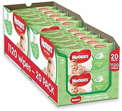 Huggies Natural Care Baby Wipes - 2 X 10 Packs Of 56 Wipes, Total 1120 Wipes