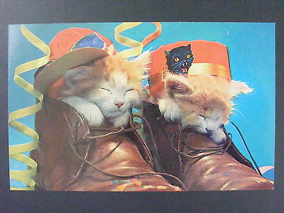 Two Kittens Wearing Party Hats Inside Pair Of Leather Boots Postcard 1950s-60s